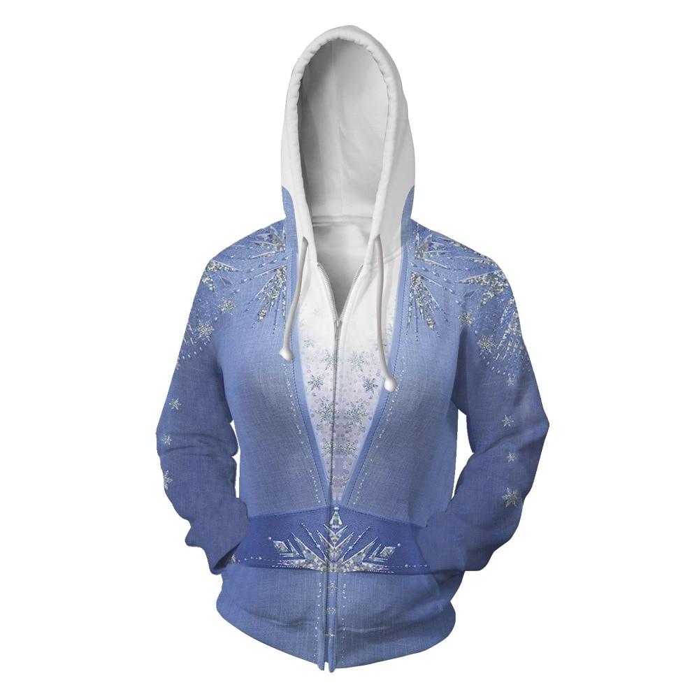 Men/Women Movie Elsa 2 Dress Anna Elsa Cosplay Costumes Zipper Hooded 3D Printed Jacket Sweatshirt Streatwear Long Sleeve Coat