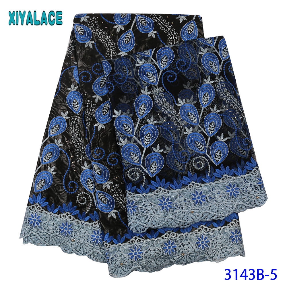 Blue Bazin Riche Lace Fabri Special Pattern Bazin Riche Lace French High Quality Cord Lace With Stones KS3143B