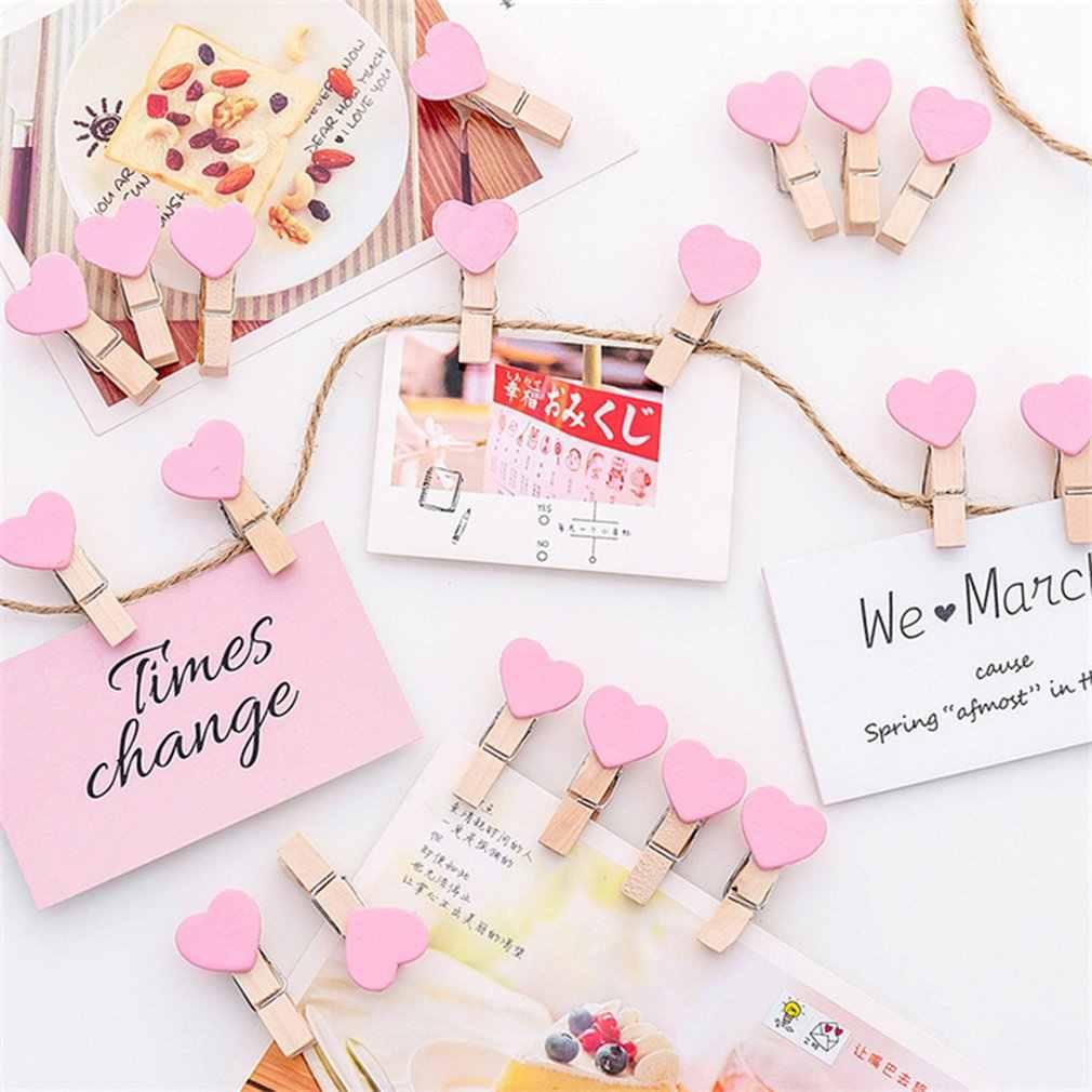 1pc mały uroczy serce miłość drewniane ubrania papier fotograficzny Peg klamerka Craft pocztówki klipy Home dekoracje ślubne