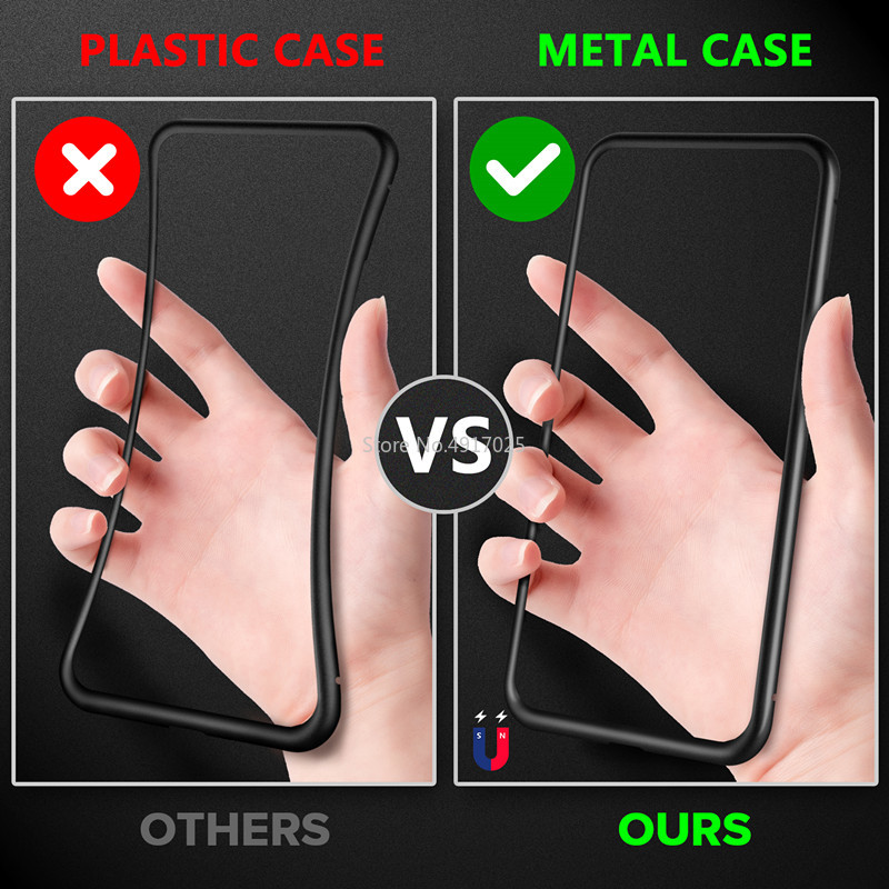 Magnetic Privacy Tempered Glass Phone Case for Samsung S20 Ultra S8 S9 S10 Plus Note 8 9 Coque Full Body Metal Protective Cover