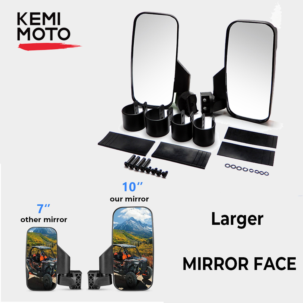 Ranger 570 900 XP Side View Mirrors for UTV with Lock and Ride Cab System//Heavy Duty Large Size KEMIMOTO Rear View Mirrors for Polaris Ranger 570 900 XP