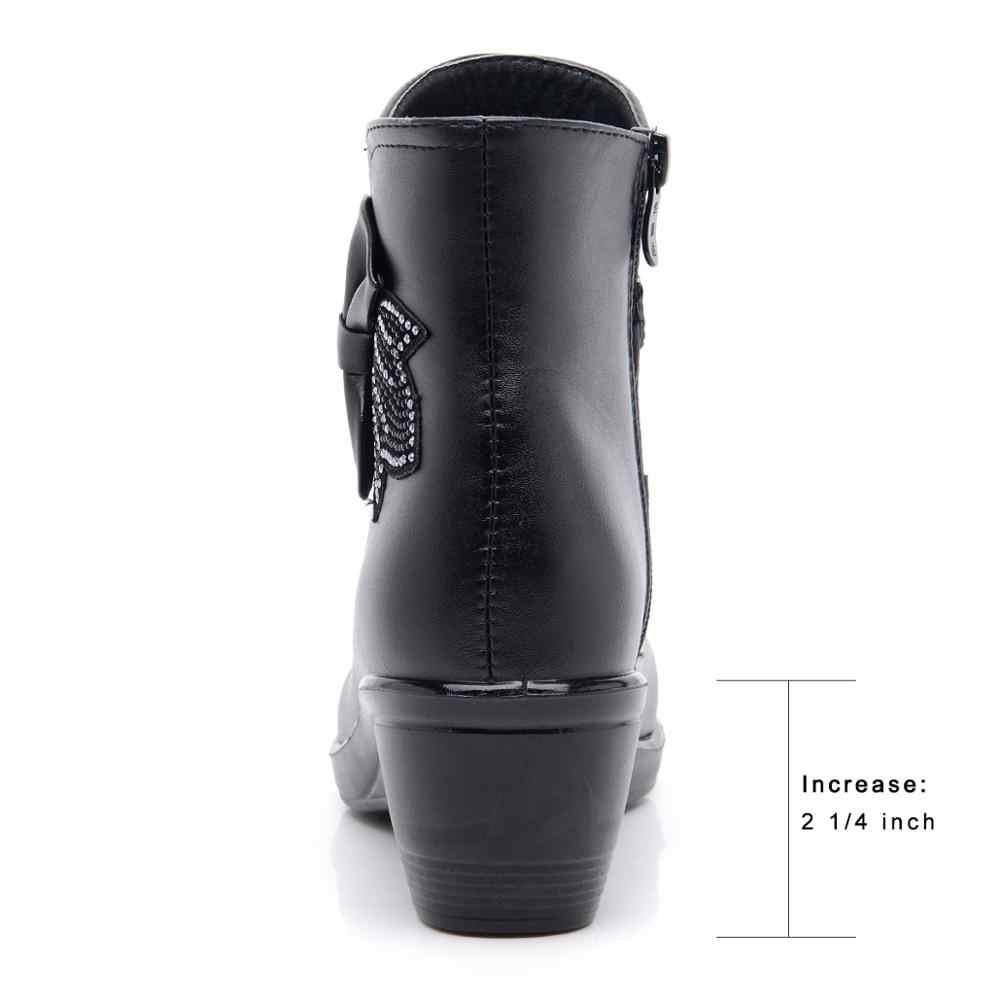 Mùa Đông Ấm Giày Boot Nữ Da Ủng Chống Thấm Nước 2019 Thời Trang Mắt Cá Chân Giày Sang Trọng Ngắn Chắc Chắn Kích Thước 35-41 zapatos-Mujer