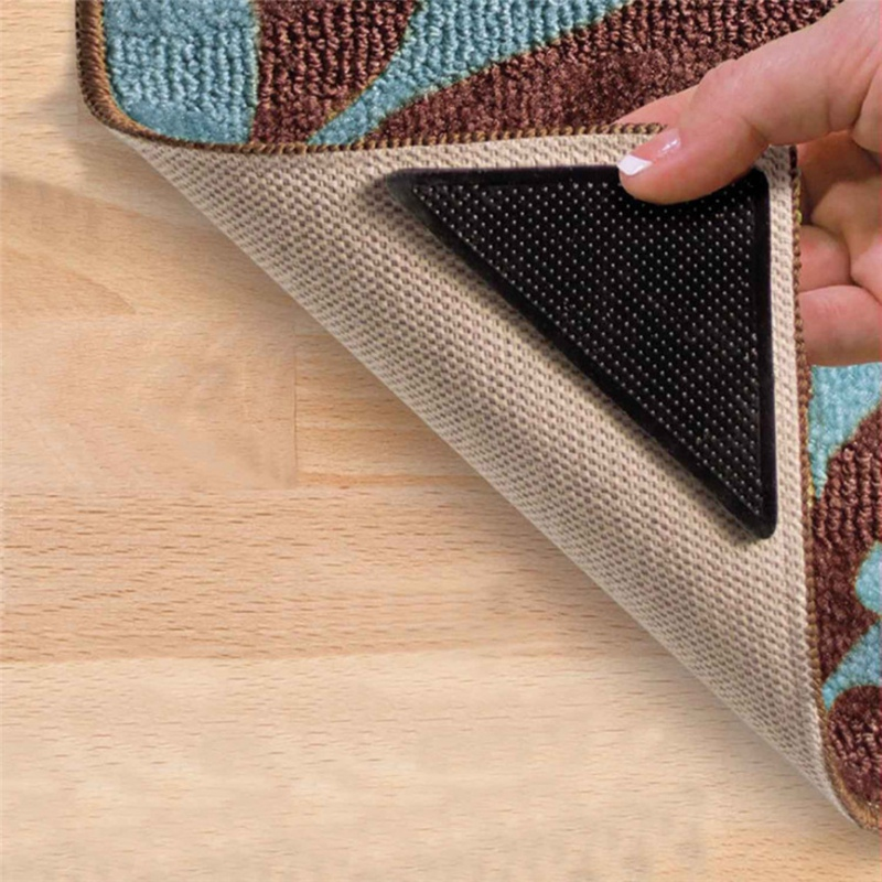 Triangular Non-Slip Rug Grippers Anti-Curling Carpet Tape Pad Keeps Your Rug In Place & Makes Corners Flat Washable Reusable 1