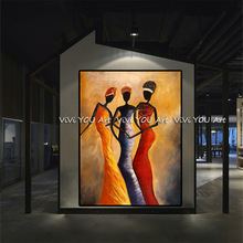 Canvas Painting hand painted African Woman Portrait Oil Modern Quardro Wall Picture For Living Room Home Decor