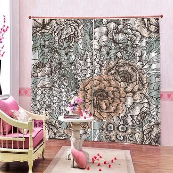 grey flower curtains Customized size Luxury Blackout 3D Window Curtains For Living Room Decoration curtains