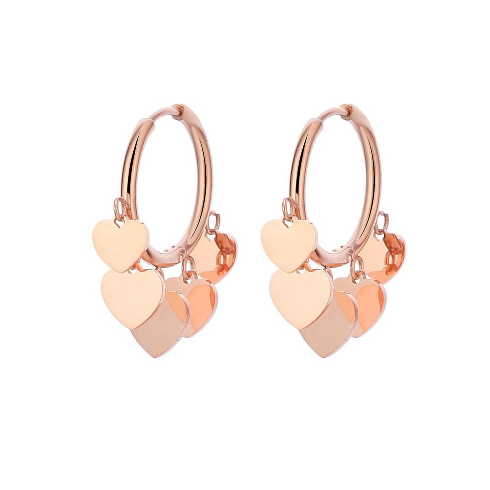 Women/'s Rose Gold Plated Clear Crystal Drop Dangle Heart Huggie Earrings