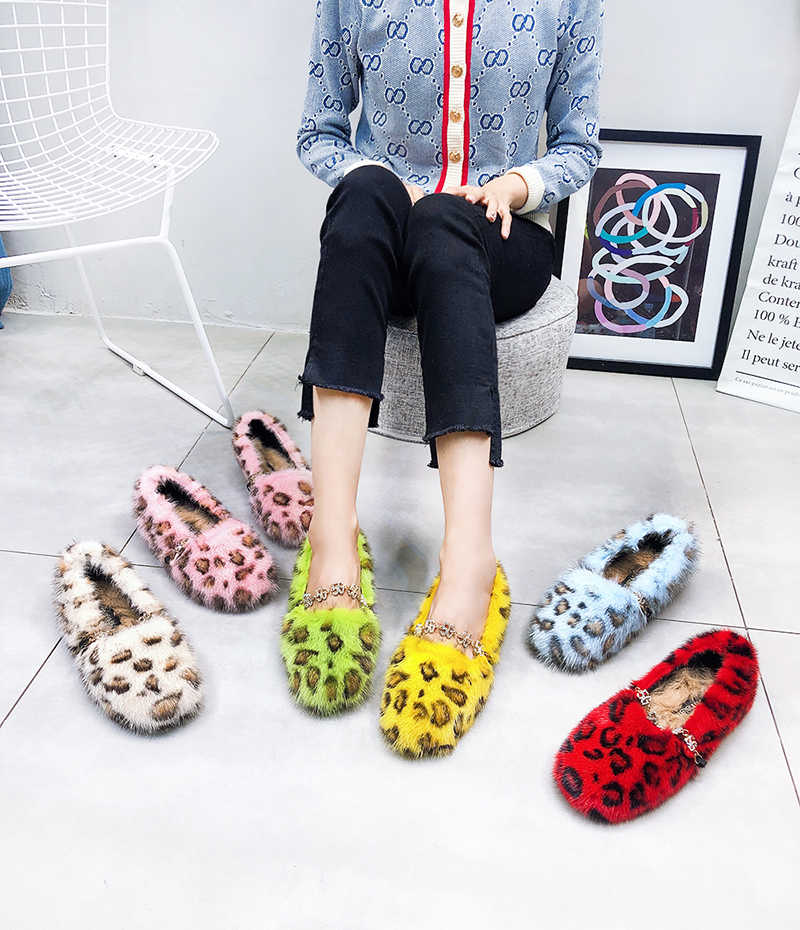נמר מינק פרווה נשים סתיו דירות רדוד מזדמן מוקסינים קריסטל שרשרות נעלי בד נשים חורף Zapatillas Femmes נעלי עקב