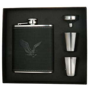 Stainless Steel Hip Flask set 7 oz with Funnel and Wine Cups Whisky Alcohol Leather Whiskey Flask Friends Man Bridesmaid Gifts(China)