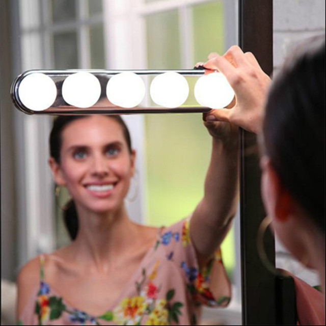 5 Bulb Hollywood Led Makeup Mirror Light 3-color Stepless Dimmable Dressing Vanity Table Bathroom Wall Lamp Battery Powered