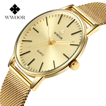 WWOOR Golden Watches For Men Top Brand Luxury Full Gold Ultra Thin Steel Mesh Quartz Clock Mens Wrist Watch Relojes hombre 2020 dom men watches top brand luxury quartz watch casual quartz watch black leather mesh strap ultra thin fashion clock male relojes
