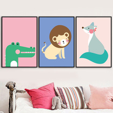 Dinosaur Lion Fox Cartoon Animal Wall Art Print Canvas Painting Nordic Poster And Prints Pictures Kids Room Decor