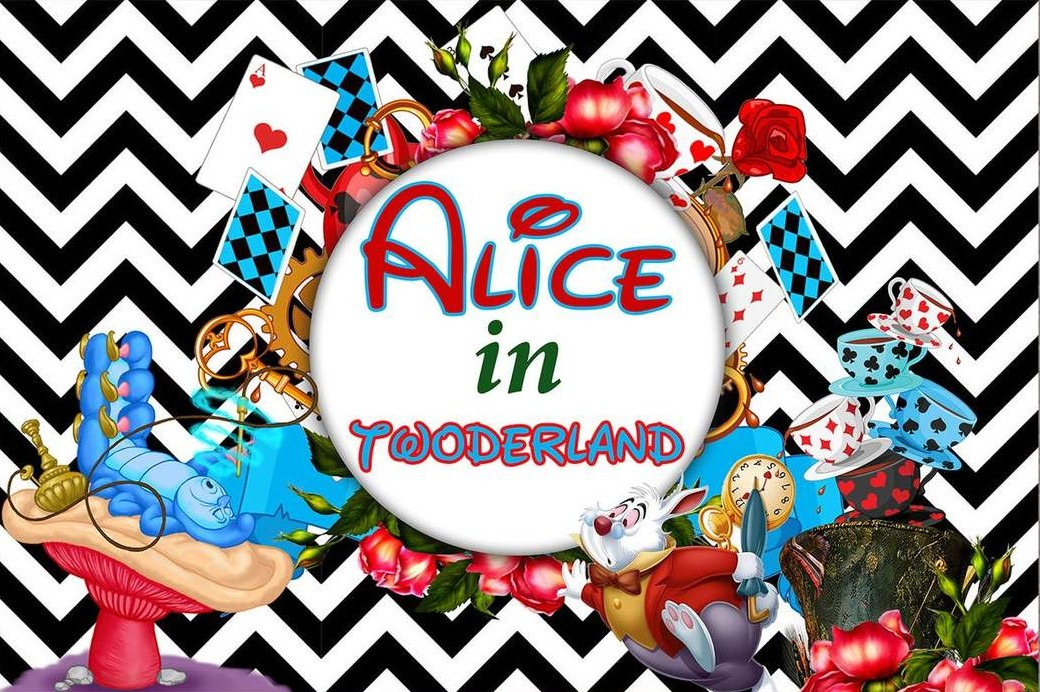 Custom Alice Wonderland Poker Cup Chevron photography backgrounds  High quality Computer print party backdrops