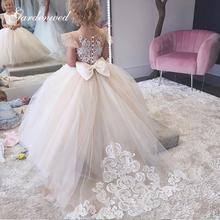 Ball-Gown Party-Dresses Puffy Baby-Girl Lace Appliques Bow Cap-Sleeves Back-Bow Simple