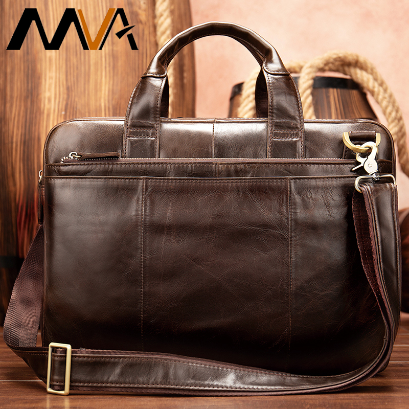 Briefcases Man Genuine Leather Laptop Bag Mens Leather Bag Men Briefcase Office Bags For Men 14
