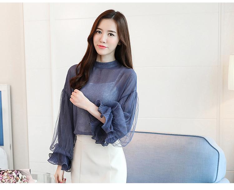 2019 Women tops and Blouses ruffless Summer autumn Long Sleeve White Shirt Casual Female Chiffon Blouse Women Clothing plus size 38