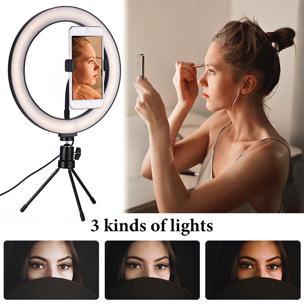Dimmable LED Selfie Ring Light avec trépied USB Selfie Light Ring - Caméra et photo - Photo 5