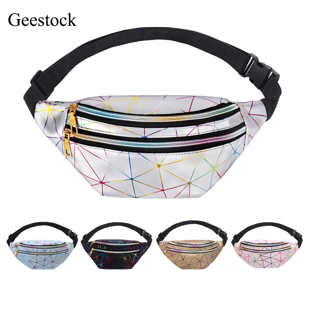 Geestock Holographic Waist Bag for Women Glitter Fanny Pack Waterproof Geometric Belt Bag Fashion Laser Waist Pack Phone Pouch