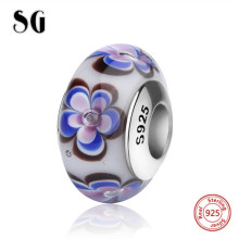 SG fit authentic pandora bracelet silver 925 sparkling flower petal Murano glass beads diy charms original jewelry girl gifts цена