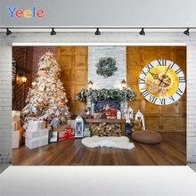 Фон для фотосъемки с изображением рождественской елки камина