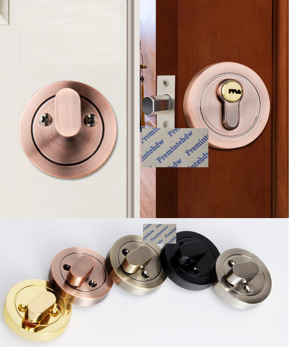 Zinc Conceal Round Door Lock Handless Deadbolt Keys Thumbturn Matte Black Gold Red Bronze Steel