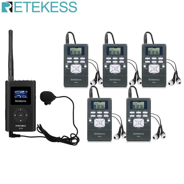 Wireless Tour Guide System 0.3W 1 FM Transmitter FT11 + 5 FM Radio Receiver PR13 for Guiding Church Meeting Translation System