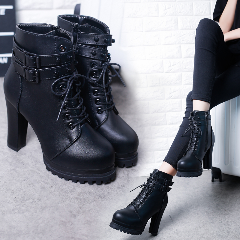 Women's Short Boot Lace Up Boots Autumn Shoes Bootee Woman 2019 Booties Ladies Round Toe Luxury Designer Ankle Rubber