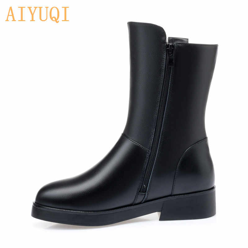 AIYUQI kadın bot ayakkabı doğal tam dana büyük boy 41 42 yeni yağ kalın yün kar botları kadın kış ayakkabı rahat