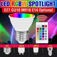 Lámpara LED RGB de 220V para el hogar, Bombilla de Color E27, E14, GU10, ampolla MR16, 15W, Color cambiable