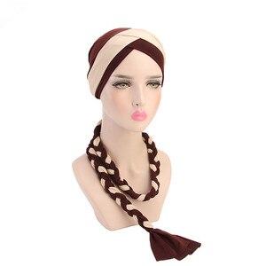 Image 5 - Helisopus 2020 แฟชั่นสไตล์ผู้หญิงมุสลิมผูกถักผมผ้าพันคอ Turban ผมหมวก Headwraps สำหรับสุภาพสตรีหมวกอุปกรณ์เสริมผม