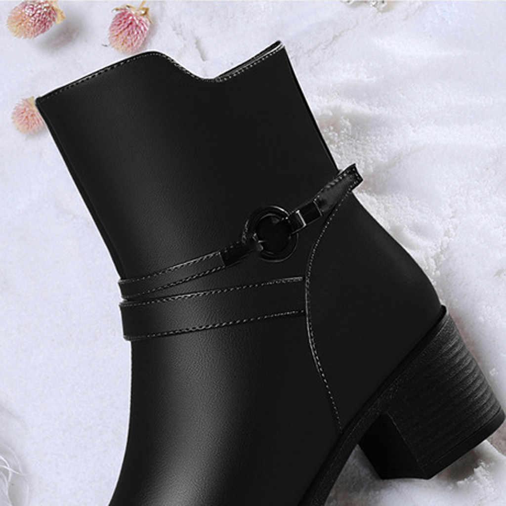 Engeland Stijl Elegante Enkellaarsjes Voor Vrouwen Lederen Korte Laars Vrouwelijke Winter Warm Bont Hoge Hakken Party Office Formele schoenen
