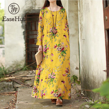 New Women Maxi Floral Long Sleeves Dresses