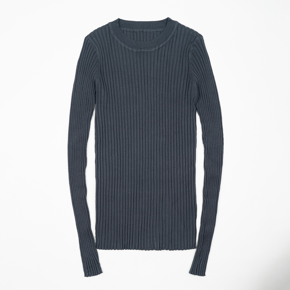 Women Sweater Pullover Basic Ribbed Sweaters Cotton Tops Knitted Solid Crew Neck With Thumb Hole 31