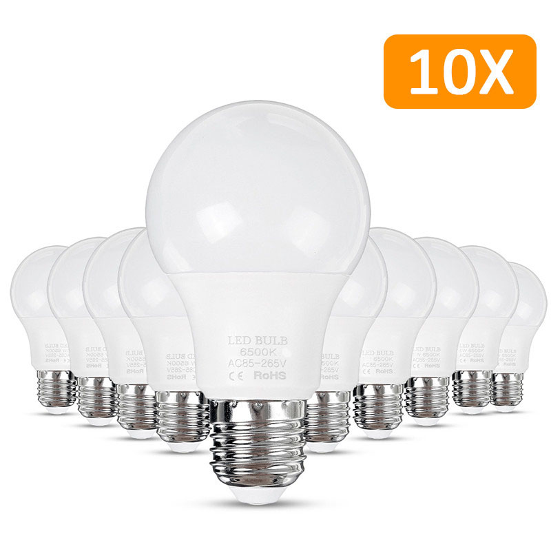 10PCS E27 LED Bulb Lamp 9W 6500K Pure White No Flicker 60x112mm AC85-265V Table Lamp Globe Bulb Bombilla Spotlight