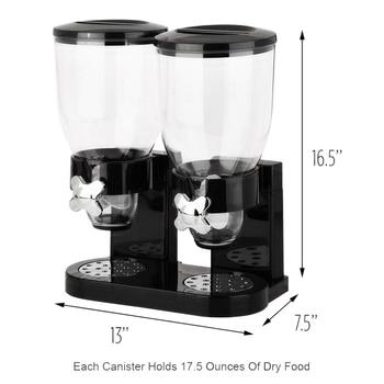 Dubbele Kamer Luchtdicht Granen En Droog Voedsel Dispenser Met Ingebouwde Spill Lade Voor Thuis, Keuken, Werkbladen, Ontbijt, Huisdieren,