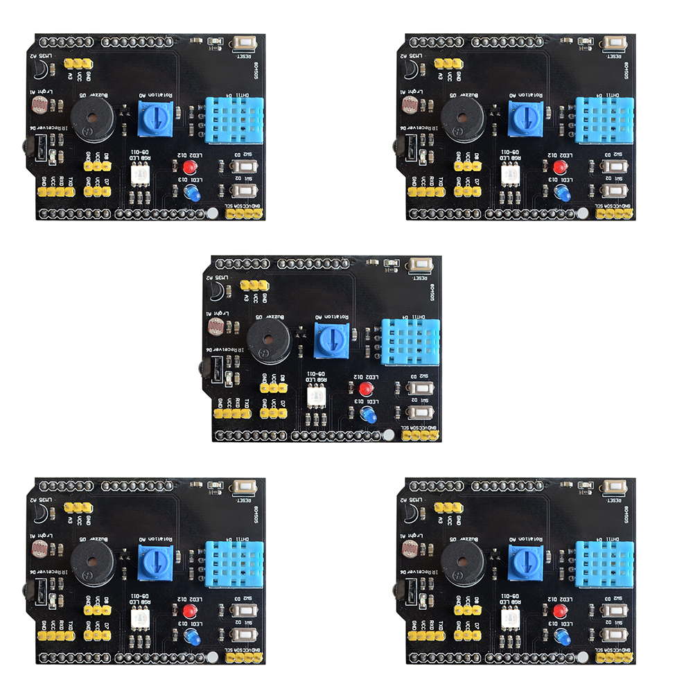 5PCS DHT11 LM35 Temperature Humidity Sensor Multifunction Expansion Board Adapter For Arduino UNO R3 RGB LED IR Receiver Buzzer