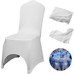 Universal White Arched Elastic 100 Polyester Wedding Chair Cover Easy Maintenance With Bottom Bag