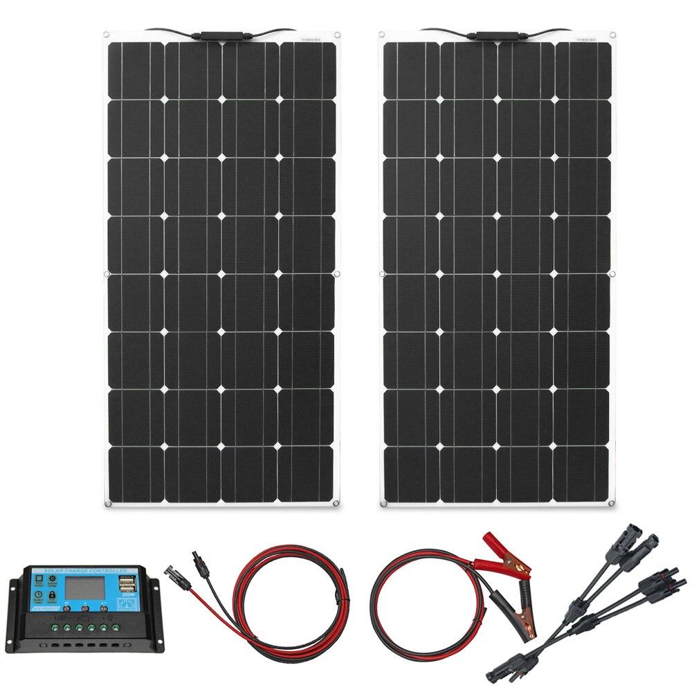 4 pièces 100 watt panneaux solaires haute qualité panneau solaire kit module 100 w flexible panneau solaire 200w 300w pour la maison rv toit bateaux - 2