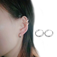 цена на Classic1 Pair Small Stud Earrings Silver Stainless Steel Round Circle Earrings for Women Men Gothic Clip Huggie Pendientes Mujer