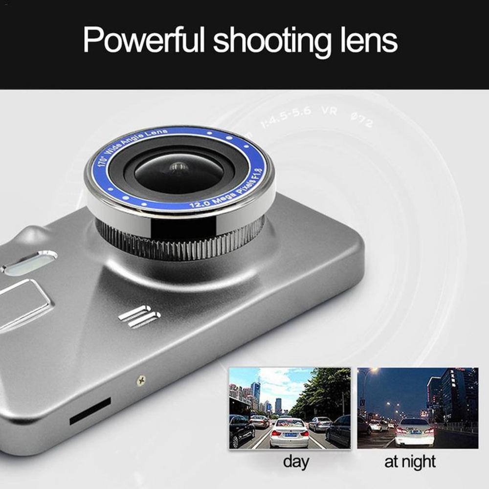 HD 4 Zoll Dual Objektiv Bild 1080P Versteckte Weitwinkel Fahren Recorder Dash Cam Dual Objektiv Auto DVR Kamera unterstützung Rückfahr