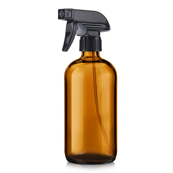 16oz Empty Amber Glass Spray Bottles Refillable Container for Essential Oils, Cleaning Products,Black Trigger Sprayer brown glass spray bottles premium 2 x 500 ml amber glass spray bottle with fine trigger for spraying and airtight lids