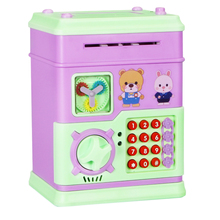 Electronic Password Piggy Bank Cash Coin Can Mini Singing Story ATM Saver Machine with 12 Keys for Children-Battery Version