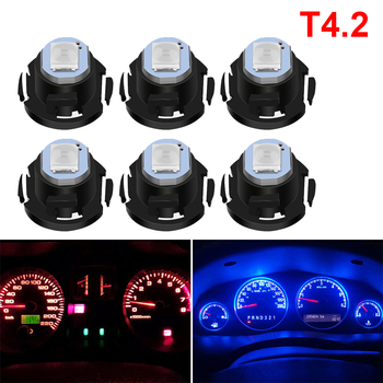 6X T4.2 LED For Mercedes W203 W211 W204 W210 Benz BMW F10 E34 E30 F20 X5 E70 Car Dashboard Gauges Cluster Lamp Bulbs White Blue image
