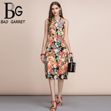 Baogarret Fashion Runway Retro Summer Dress Womens Sleeveless Gorgeous Floral Print Appliques Beading Midi Vintage