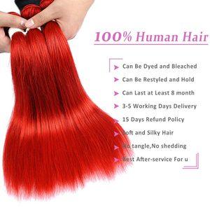 Image 2 - Rot 99J Burgund Gerade Haar Bundles 1/3 Pcs Brasilianische Haarwebart Bündel Rote Menschliches Haar Weave Extensions Pinshair Remy Haar