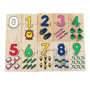 Montessori Kids Puzzle Toy Wooden Math Jigsaw Puzzles Board Game Color Number Matching Education Kids Toy montessori math toy wooden fruit number math game sticks educational toy puzzle learning teaching aids set child birthday gift