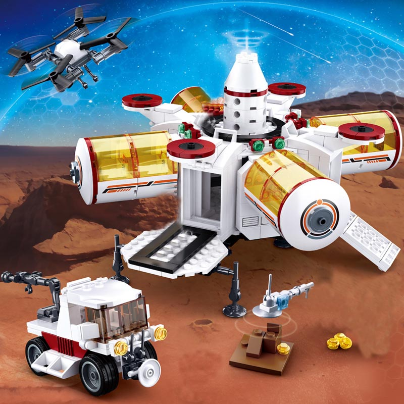 Space Station Rocket Compatible Legoingly Lunar Lander Spaceship Space Shuttle Ship Figures Model Building Blocks Bricks Toys