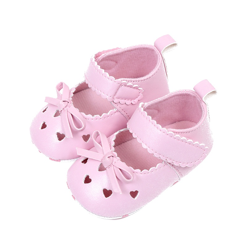 Summer Baby Girls PU Leather Princess Heart-Shaped Hollow Out Mary Jane Shoes Soft Bottom Crib Babe Dress Shoes