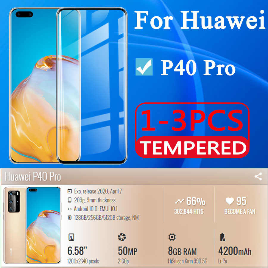 Kaca Pelindung untuk Huawei P40 Pro Pelindung Layar Huaway P 40 Pro P40Pro Kasus Tremp Film Hauvei 40 P Tempered kaca HD 1-3 Pcs