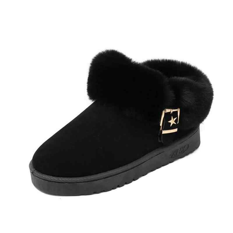REAVE KEDI Kadın kış kar botları Sahte süet zapatos Düz yuvarlak Ayak sıcak Tutmak Anti kayma Toka yarım çizmeler Için kadın Peluş
