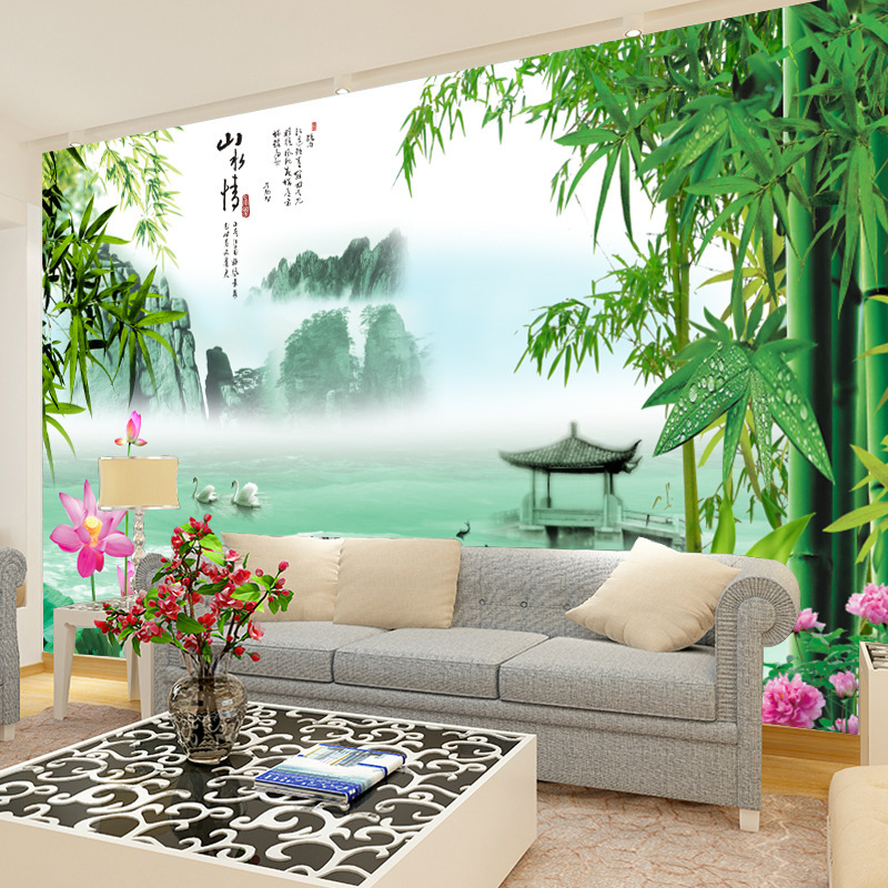Chinese Style Ink Love For Nature Large Mural TV Background Wallpaper Living Room Background Wallpaper 3D Seamless Wall Cloth Ma
